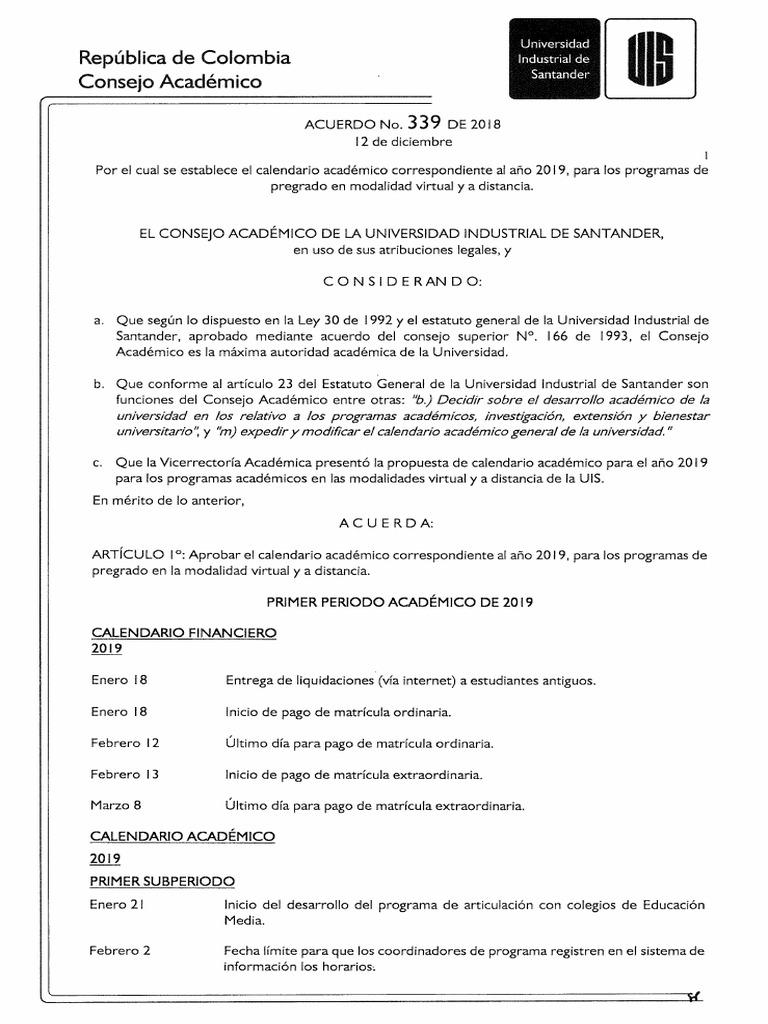 Calendario Financiero 2019.Acuerdo No 339 De 2018 Calendario 2019 1
