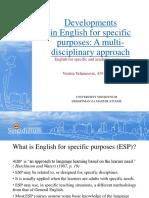 Developments in English for Specific Purposes Violeta Velimirovic