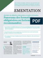 Abécédaire des obligations règlementaires en matière de formation Panorama des formations obligatoires ou fortement recommandées