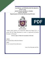 Aplicación Del Derecho Extranjero en Nicaragua