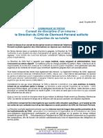 Communiqué du CHU de Clermont-Ferrand suite au conseil de discipline d'un interne