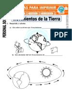 Ficha de Movimientos de La Tierra Para Segundo de Primaria