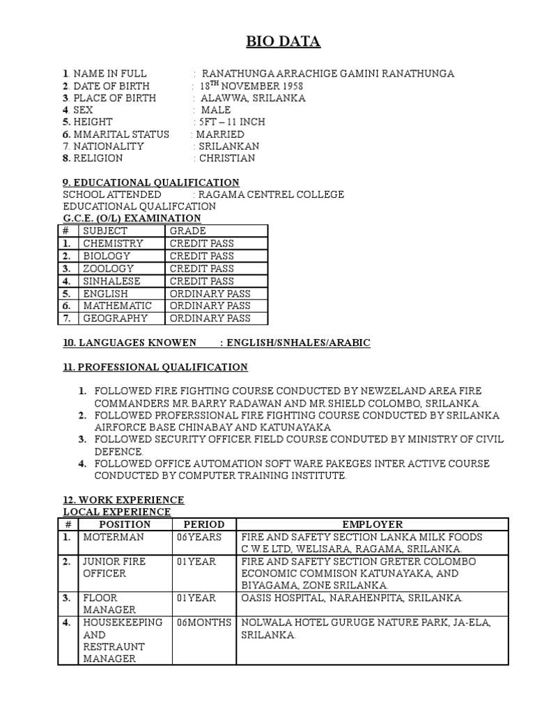 Contemporary Job Biodata Format Download Mold - Resume Template ...