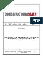 SSOMA-P-007 Procedimiento de Reporte y Analisis Causal de Hallazgos e Incidentes Rev 0