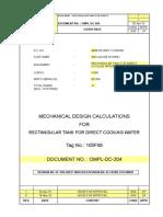 Rectangular Tank Design ROARKS FORMULA