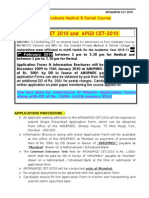 Notice for PG CET 2010