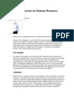 Behavioral Factors in Human Resource Planning