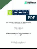 Rene Castillo.4.2 Resumen Reflexivo . La Socialización Para El Aprendizaje