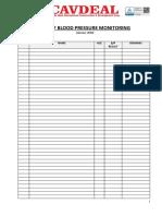 Blood Pressure Monitoring Sheet