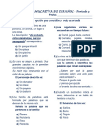 Prueba de Español 3er Periodo