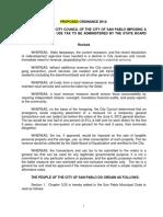 Proposed Sales Tax Ordinance