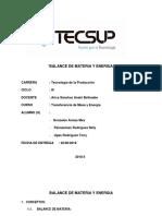 BALANCE DE MATERIA Y ENERGIA - CASO N°01