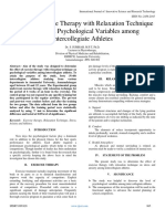 Effect of Exercise Therapy with Relaxation Technique on Selected Psychological Variables among Intercollegiate Athletes