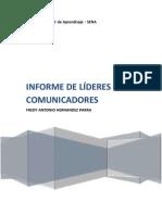 INFORME DE LÍDERES COMUNICADORES FREDY HERNANDEZ