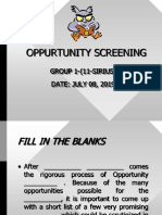 Opportunity Screening