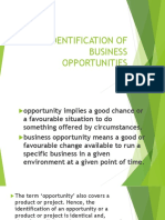 Identification of Business Oppotunities