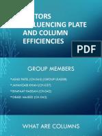 Factors Influencing Plate and Column Efficiencies