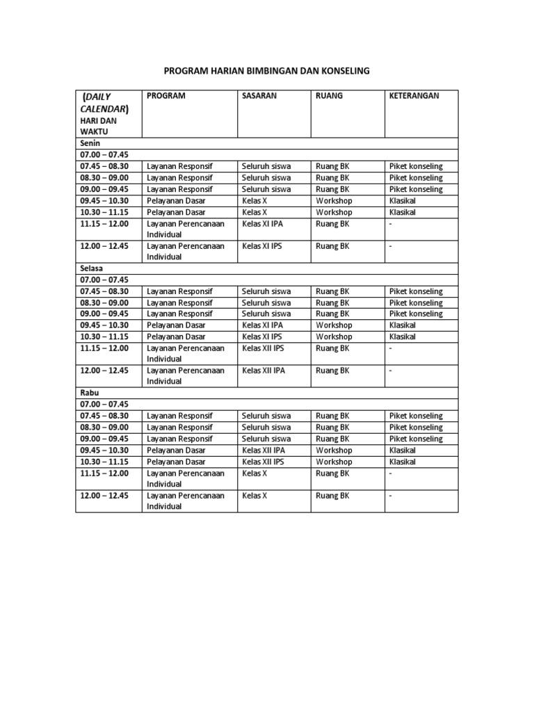 Calendar Program Harian Bimbingan Dan Konseling Daily