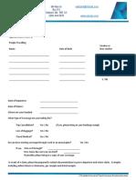 Travel Insurance Questionnaire