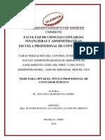 Caracterización del control interno en las Juntas administradoras de servicios de saneamiento (JASS) del Peru