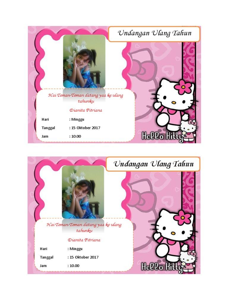 Contoh Undangan Ulang Tahun Anak Tema Hello Kitty Bisa Di Edit