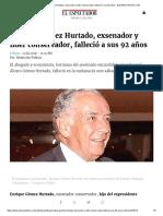 Enrique Gómez Hurtado, Exsenador y Líder Conservador, Falleció a Sus 92 Años