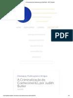 A Criminalização Do Conhecimento, Por Judith Butler - SPW - Português