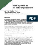 La Evolución de La Gestión Del Comnocimiento en Las Organizaciones