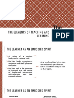 THE ELEMENTS OF TEACHING AND LEARNING ( The Learners )