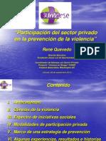 """ALMUERZO CON PATROCINADORES DE CONVERTIRSE – Septiembre, 2010   """"Participación del sector privado en la prevención de la violencia"""