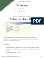 Anthropology Paper 1 Plan – Harsha Koya