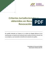 CRITERIOS JURISDICCIONALES RECURSO REVOCACION