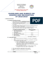 SANHS Guidelines and Rubrics on Awards and Recognition SY 2016 17