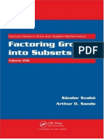Sandor Szabo, Arthur D. Sands - Factoring Groups Into Subsets-CRC Press (2009)