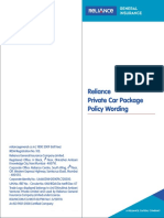 Reliance Private Car Package Policy Wording