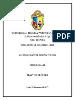 Practica de Campo-Aforo-jacsson Emanuel Medina Toledo
