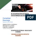 Consumos de Los Artefactos Eléctricos Tabla de Gasto de Energía Calculo