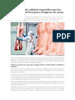 Estándares de Calidad Requeridos Por Los Camales en El Perú Para El Ingreso de Carne Porcina
