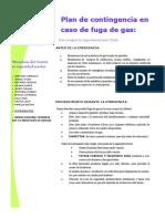 afiche de contingencia de fuga de gas