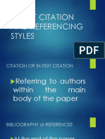In-text Citation and Referencing Styles