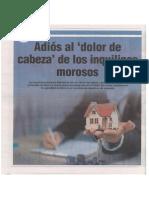 Adios Al Dolor de Cabeza de Los Inquilinos Morosos - Autor José María Pacori Cari