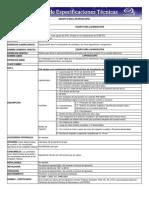 Cédula de especificaciones técnicas