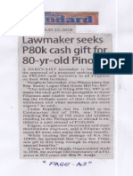 Manila Standard, July 15, 2019, Lawmaker seeks P80k cash gift for 80-yr-old Pinoys.pdf