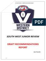 South West Junior Review Draft Recommendations