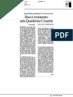 Bucci restaurato alla Quadreria Cesarini - Il Resto del Carlino del 14 luglio 2019