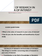 Value of Research in the Area of Interest