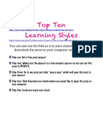 Back to School Learning Styles Inventory Prez i and Hand Out