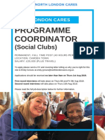 North London Cares Programme Coordinator (Social Clubs)