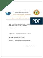 INFORME N° 2 -FACTORES DE DETERIORO EN EL MANEJO DE  OPERACIONES UNITARIAS DE LA CHIRIMOYA.