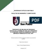 """""""PROPUESTA DE MEJORA DE PROCESOS BASADA EN LA NORMA ISO 9001"""